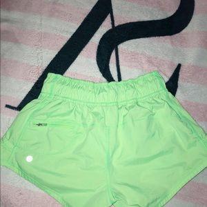 Lululemon green athletic shorts